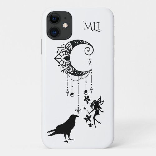 Monogram Crescent Moon Fairy and Crow Magical iPhone 11 Case