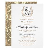 Monogram Crest Black and Gold Bridal Shower Card