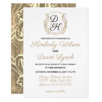 Monogram Crest Black and Gold Vintage Wedding Card