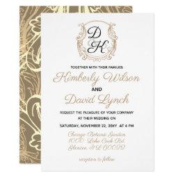 Monogram Crest Gold Black Vintage Wedding Invitations