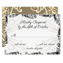 Monogram Crest Black and Gold Vintage Wedding rsvp Card