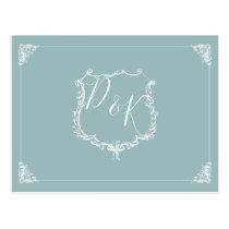 Monogram Crest Dusty blue Wedding rsvp Postcard
