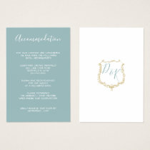 Monogram Crest Gold Blue accommodation cards