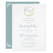 Monogram Crest Gold Dusty blue Bridal Shower Card