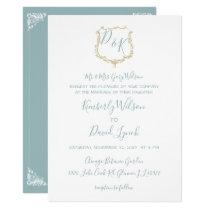 Monogram Crest Gold Dusty blue Wedding Card