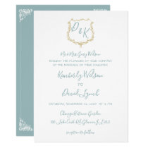 Monogram Crest Gold Dusty blue Wedding Card