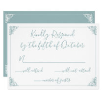 Monogram Crest Gold Dusty blue Wedding rsvp Card