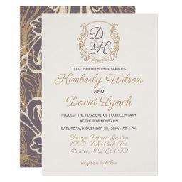 Monogram Crest Gold Purple Vintage Wedding Invitations