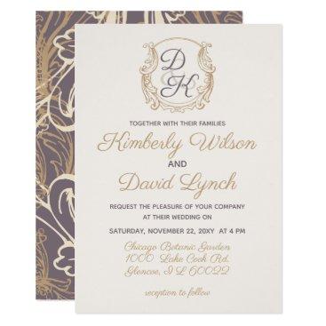 Monogram Crest Gold Purple Vintage Wedding Card