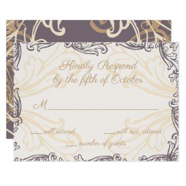 Monogram Crest Gold Purple Vintage Wedding rsvp Card