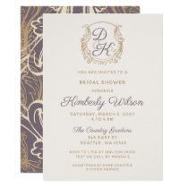 Monogram Crest Gold Vintage Purple Bridal Shower Card