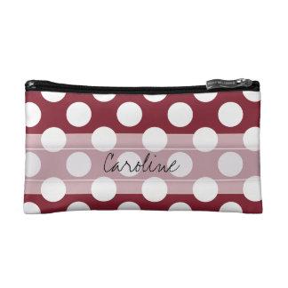 Monogram Crimson Red White Chic Polka Dot Pattern Cosmetic Bag