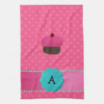 Monogram cupcake pink polka dots kitchen towel