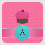 Monogram cupcake pink polka dots square sticker