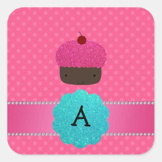 Monogram cupcake pink polka dots stickers