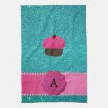 Monogram cupcake turquoise glitter hand towels