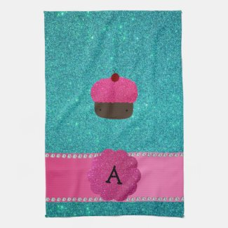 Monogram cupcake turquoise glitter kitchen towel