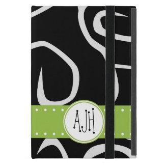Monogram - Curly Swirls - Black White Green Cases For iPad Mini