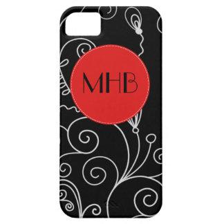 Monogram - Curly Swirls - Black White Red iPhone 5 Cases