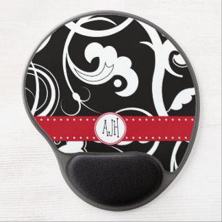 Monogram - Curly Swirls - Black White Red Gel Mouse Pad