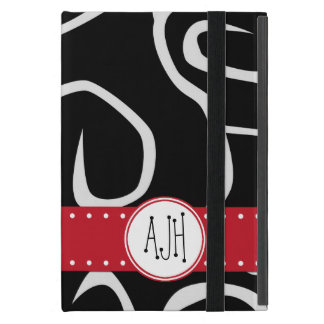 Monogram - Curly Swirls - Black White Red Cases For iPad Mini