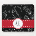 Monogram - Curly Swirls - Black White Red Mouse Pad