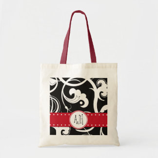 Monogram - Curly Swirls - Black White Red Tote Bag