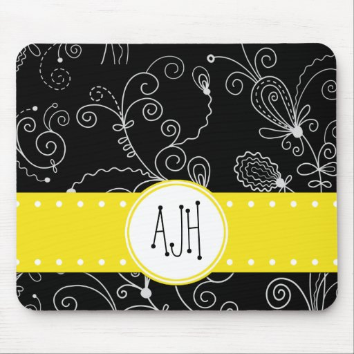 Monogram - Curly Swirls - Black White Yellow Mousepad