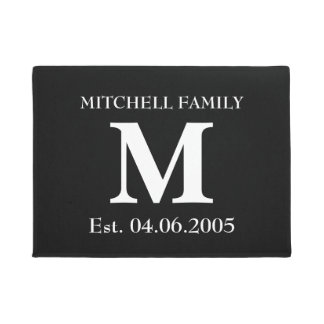 Monogram custom add your name initial wedding doormat