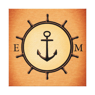 Monogram Custom Brass Nautical Wheel and Anchor Canvas Print