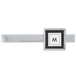 Monogram Custom Color Silver Finish Tie Bar
