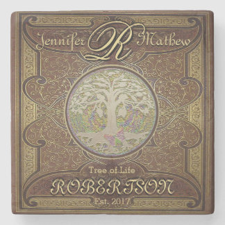 Monogram Custom Family Tree Anniversary Stone Coaster