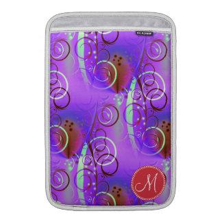 Monogram Custom Initial Purple Floral Swirls Girly Sleeves For MacBook Air