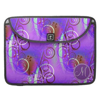 Monogram Custom Initial Purple Floral Swirls Girly Sleeve For MacBooks