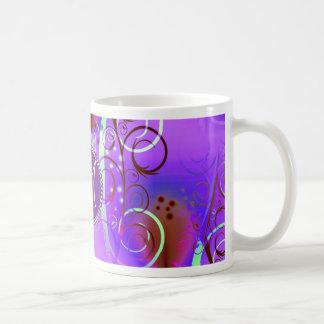 Monogram Custom Initial Purple Floral Swirls Girly Mug