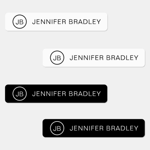 Monogram Custom Name Clothing Tags Black and White Labels