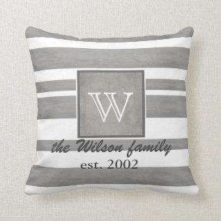 Monogram Custom Pillow Gray And White Stripes at Zazzle