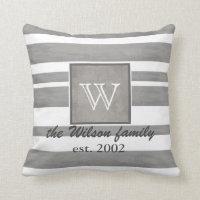 monogram custom pillow gray and white stripes