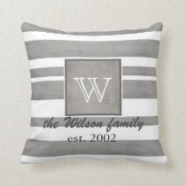 monogram custom pillow gray and white stripes