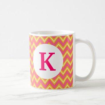 Coffee Themed Monogram Custom Printed Coffee Mug Pink Chevron