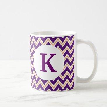 Coffee Themed Monogram Custom Printed Coffee Mug Purple Chevron
