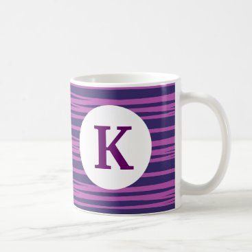 Coffee Themed Monogram Custom Printed Coffee Mug Purple Stripe