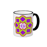 Monogram customizable colorful rotating squares coffee mug
