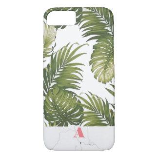 Monogram Customizable Palm Tree Marble Initial iPhone 7 Case
