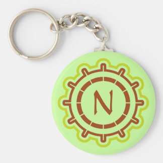 Monogram customizable steering wheel design green keychain