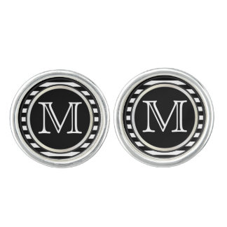 Monogram Customize Black and White Stripes Cufflinks