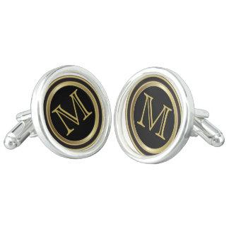 Monogram Customize Gold Black Classy Design Cufflinks
