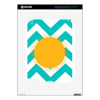 Monogram Customize Initials Yellow Turquoise Skins For iPad 3
