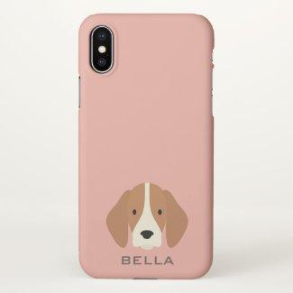 Monogram. Cute Beagle Hound Puppy Dog. iPhone X Case
