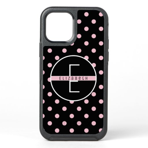 Monogram | Cute & Chic Pink Polka Dot on Black OtterBox Symmetry iPhone 12 Case